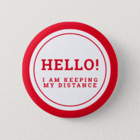 Wedding social distancing guest care red hello button