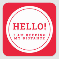 Wedding social distancing guest care red hello square sticker