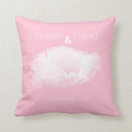 Wedding Soft Pink White Peony Personalized Pillow