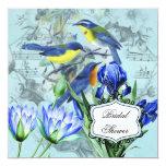 "Wedding Songbirds Bridal Shower Invitation 5.25"" Square Invitation Card"