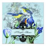"Wedding Songbirds Couple's Shower Invitation 5.25"" Square Invitation Card"