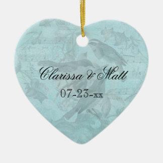Wedding Songbirds Custom Heart Keepsake Ornament