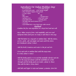 Wedding Soup Gift RECIPE CARD