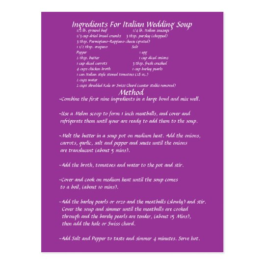 Wedding Gift Recipe Cards : Wedding Soup Gift RECIPE CARD Zazzle
