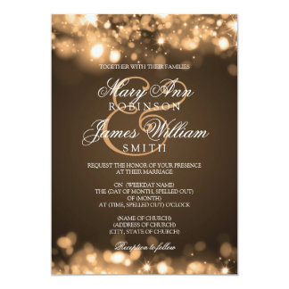 "Wedding Sparkling Lights Gold 5"" X 7"" Invitation Card"