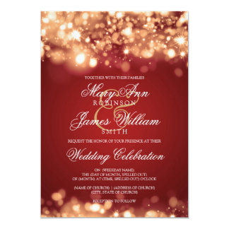 Wedding Sparkling Lights Gold Invitation