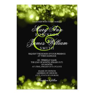 Wedding Sparkling Lights Lime Black Card