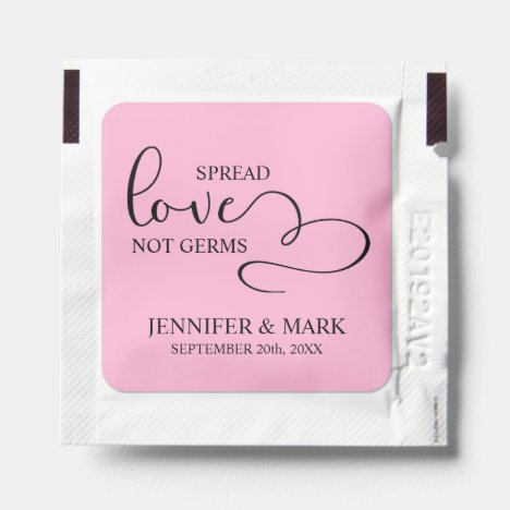 Wedding Spread Love not Germs Pink Hand Sanitizer Packet