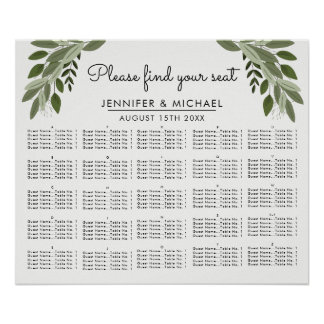 Wedding Sprigs - Alphabetical Seating Chart