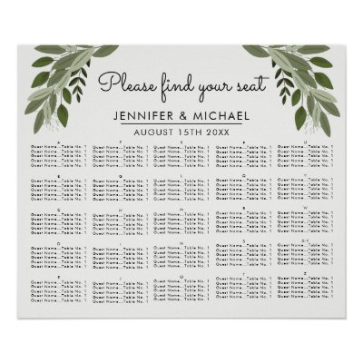 Greenery vines wedding reception seating chart zazzle junglespirit Image collections