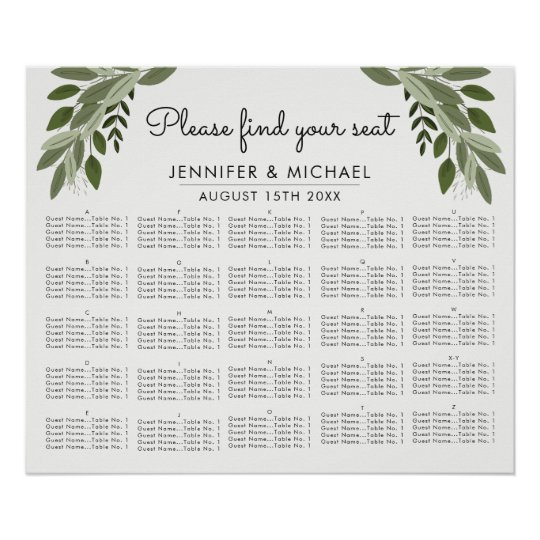 Wedding Sprigs Alphabetical Seating Chart
