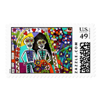Wedding Stamp Day of the Dead Mexican Couple