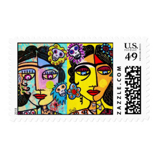 Wedding Stamp - Day Of The Dead Two Mexican Woman