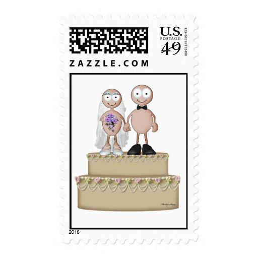 Wedding stamp light couple