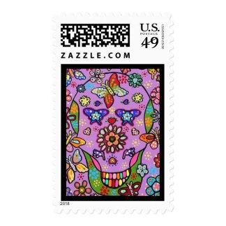 Wedding Stamp - Purple Flower Fiesta Sugar Skull