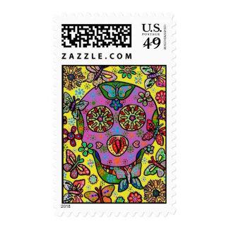 Wedding Stamp - Sun Flower Butterfly Sugar Skull