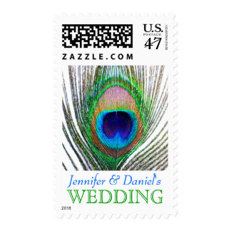 Wedding Stamps For Invitations Peacock Feather