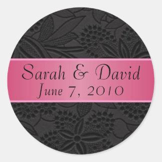 Wedding sticker black with dark pink ribbon
