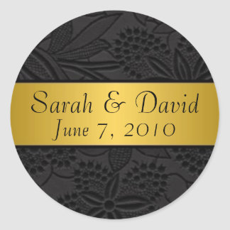 Wedding sticker black with gold ribbon
