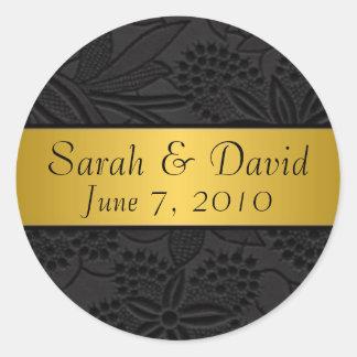 Wedding sticker black with gold ribbon