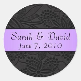 Wedding sticker black with lavender ribbon
