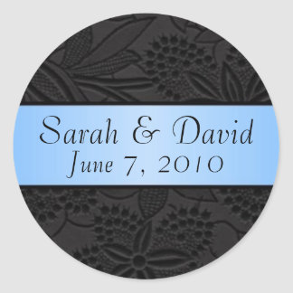 Wedding sticker black with light blue ribbon