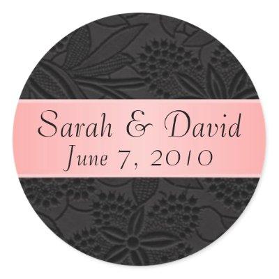 Wedding sticker black with light pink