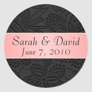 Wedding sticker black with light pink ribbon