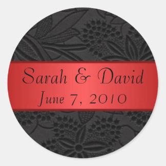 Wedding sticker black with red ribbon