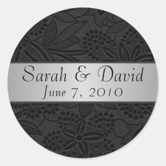 Wedding sticker black with silver ribbon