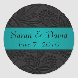 Wedding sticker black with teal ribbon