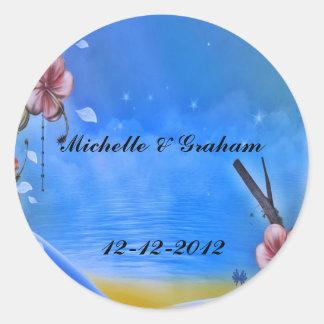 Wedding Sticker Blue and Pink flowers
