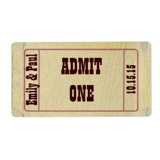 Wedding Sticker Ticket Style Admit One Date & Name