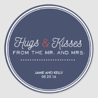 Wedding stickers for navy blue and red wedding