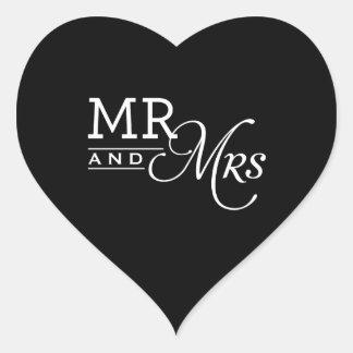 WEDDING STICKERS mr & mrs modern typography black