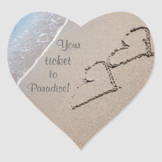 Wedding Stickers to Seal Envelope - Hearts in Sand