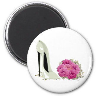 Wedding Stiletto Shoe and Bouquet of Roses 2 Inch Round Magnet