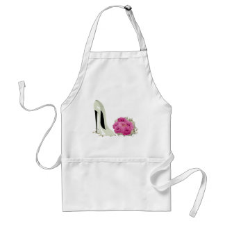 Wedding Stiletto Shoe and Bouquet of Roses Adult Apron