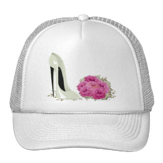Wedding Stiletto Shoe and Bouquet of Roses Trucker Hat