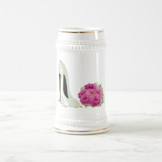 Wedding Stiletto Shoe and Roses Bouquet Gifts Beer Stein