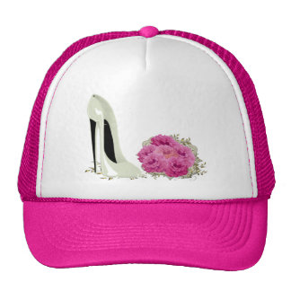 Wedding Stiletto Shoe and Roses Bouquet Gifts Trucker Hat