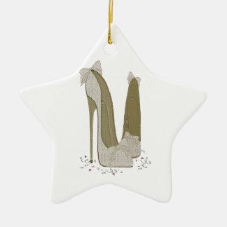 Wedding Stiletto Shoes Art Ceramic Ornament