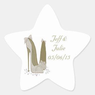 Wedding Stiletto Shoes Art Gifts Star Sticker