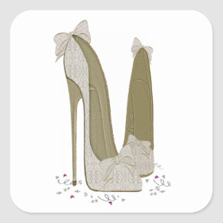 Wedding Stiletto Shoes Art Square Stickers