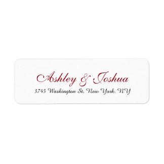 Wedding Stylish Chic Handwriting Red White Elegant Label