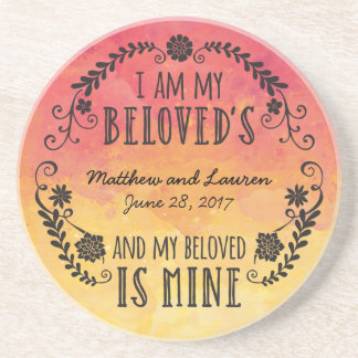 Wedding Sunset Watercolor, I Am My Beloved's Sandstone Coaster
