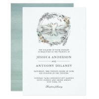 Wedding Swans Elegant Watercolor Invitation