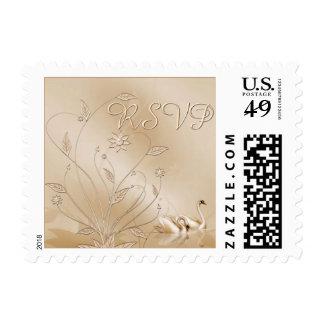 Wedding Swans RSVP Stamps