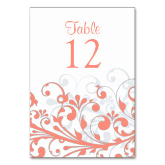 Wedding Table Card Abstract Coral Grey Floral
