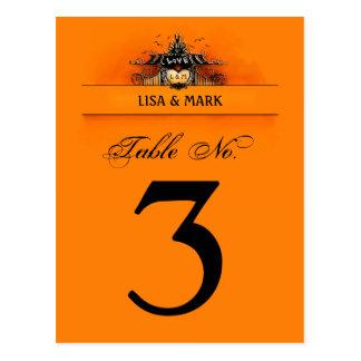 Wedding Table Card - Halloween Love Orange & Black Postcard